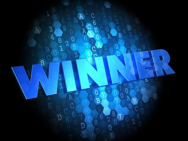 우승자-어두운 디지털 배경에 파란색 텍스트.