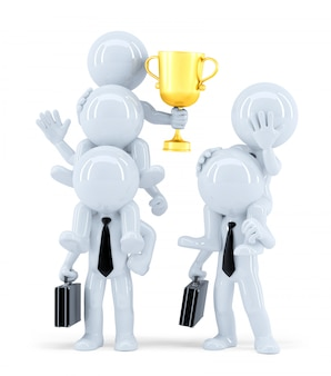 Победители и проигравшие. бизнес-концепция изолированные. содержит обтравочный контур