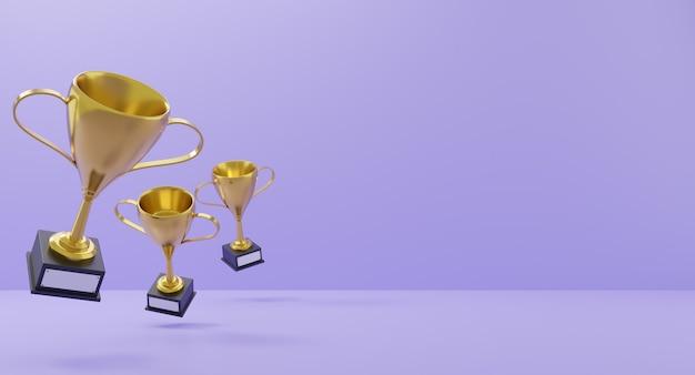 Winners gold cups on purple