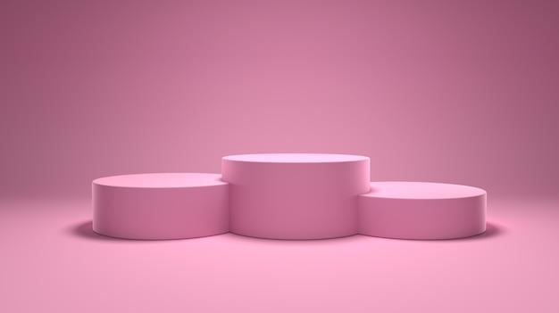 受賞者の表彰台、ピンクの部屋の台座、表彰台。 3dレンダリング。