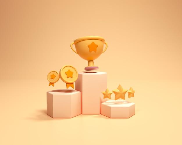 컵, 금메달 수상자, 골드 스타가 있는 우승자 연단. 1위와 2위, 3위는 식 받침대 만화 스타일로 상을 받았습니다. 3d 렌더링 그림