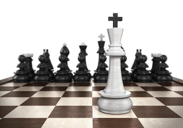 Концепция победы белый король стоит на переднем плане шахматной доски с черными шахматами на заднем плане, изолированном на белом