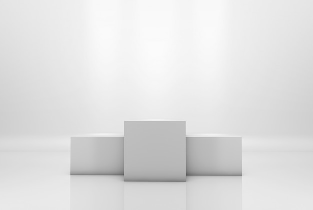 Winning podium on white illuminated background