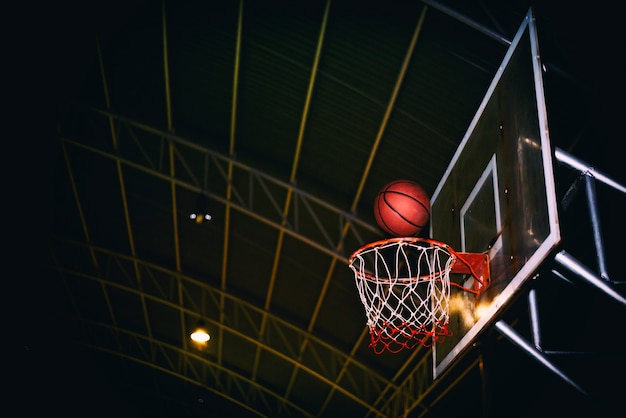 The winning points scoring at a basketball game