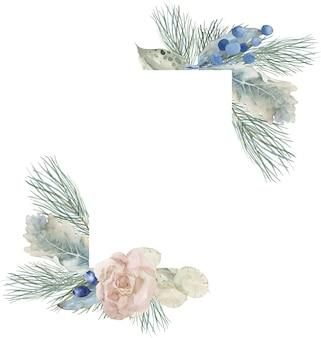 松とモミの枝を持つ冬と春の正方形のフレーム構成。ユーカリの葉と花