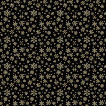 冬の黒の手描きのシームレスなパターンプリントとゴールドの美しさの雪片。金色の雪の結晶と豪華な背景。明けましておめでとう、メリークリスマスのコンセプト。テキスタイル、壁紙、ラッピング用に印刷