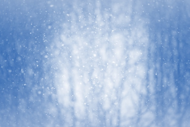 Winter blur background with snowflakes