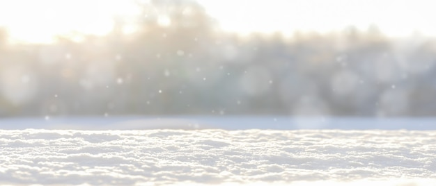 Winter blurred background with snow.