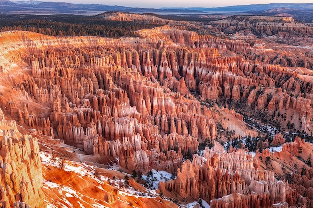 Winter in bryce canyon national park, utah, usa
