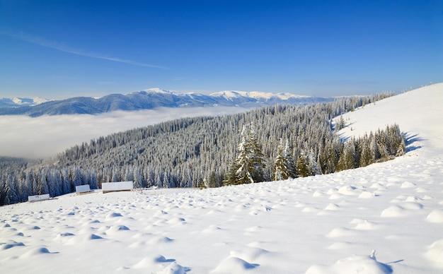 冬の穏やかな山の風景(ブコベルスキーリゾート(ウクライナ)からsvydovets尾根までの眺め)
