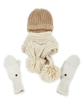 冬のキャップ、スカーフ、ミトン、白で隔離