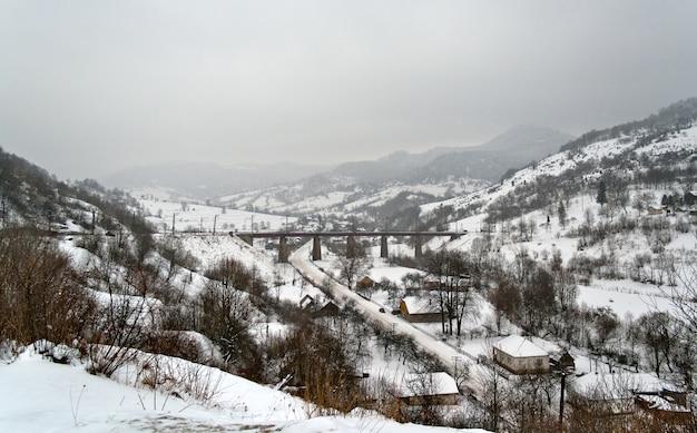 Winter carpathian mountains in ukraine