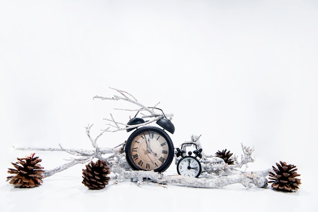 Winter celebration with alarm clock