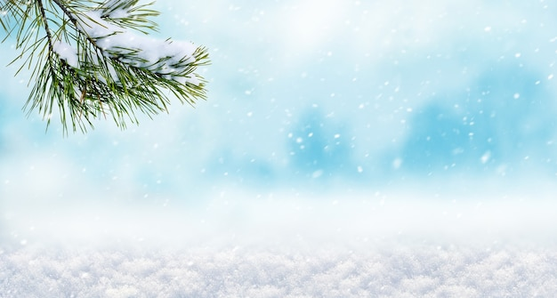 Зимний фон рождество и новый год с еловой веткой во время снегопада, копией пространства