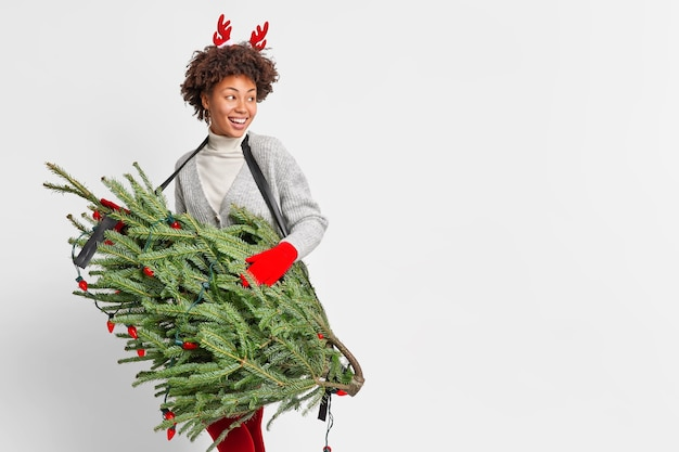 Winter and christmas holidays concept. studio shot of lovely cheerful woman looks with happy expression aside smiles broadly carries christmas fir tree decorated by garlands empty space on right