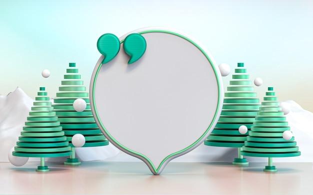Зима рождество цитата рамка с зеленым деревом абстрактный взгляд фон текст информация дизайн 3d визуализация