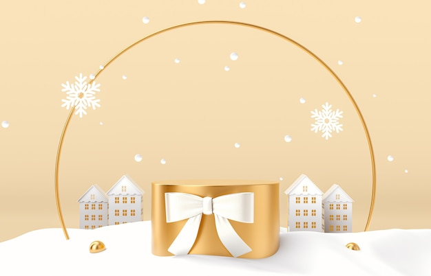 Winter christmas scene with gold podium backdrop for product display.