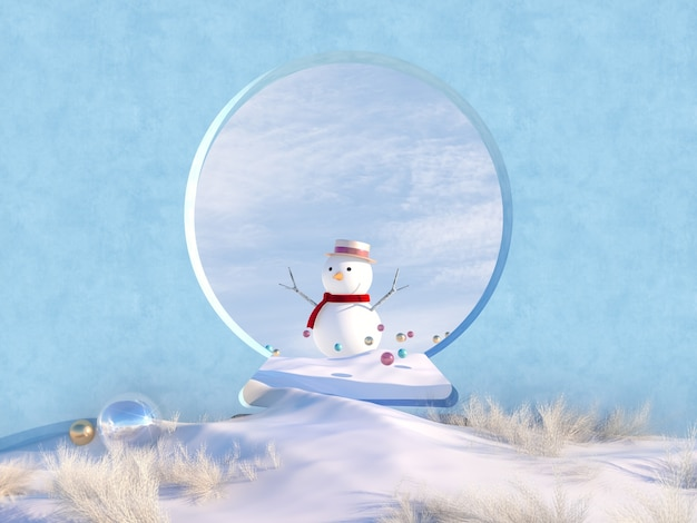 Winter christmas scene with snow globe shape frame and snowman.