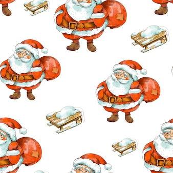 Winter christmas vintage seamless pattern. cute santa claus with rustic wooden sled.