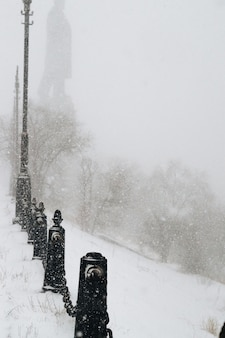 吹雪の中の冬の都市公園