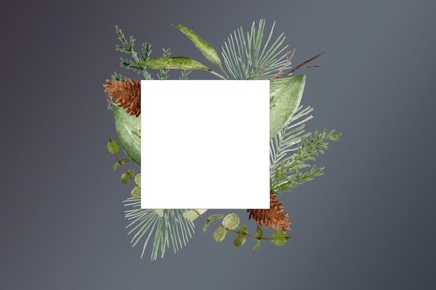 冬色の葉フレームデザイン