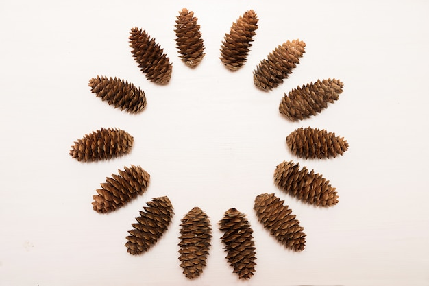 Winter composition, frame made of pine cones on white background