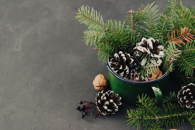 Winter composition from spruce branches, pinecone, nuts in vintage mug on dark background