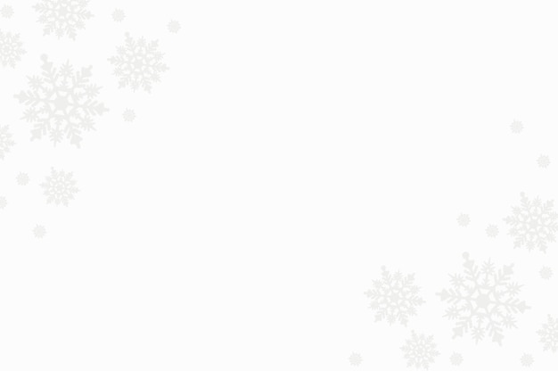 Winter composition made of snowflakes on white background with copy space, christmas card, flat lay, top view