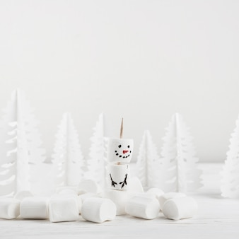 Winter composition ofmarshmallow showman
