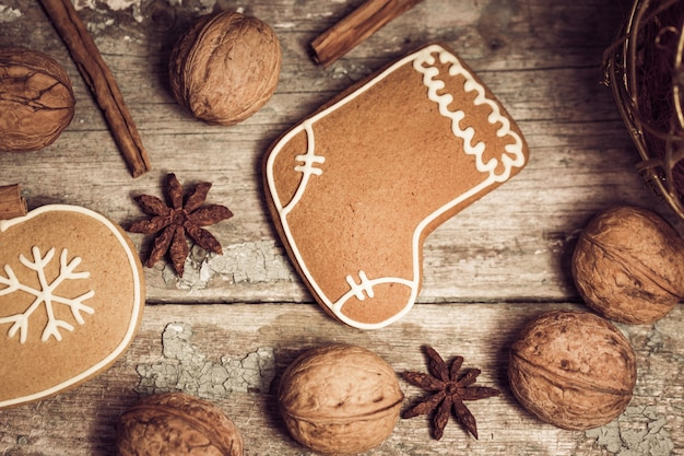 Winter composition with gingerbread cookies