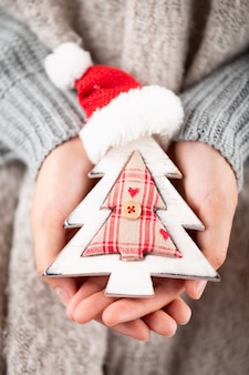 Winter concept young hands holding christmas decor.  christmas decoration idea. christmas decor in the hands of a woman, background with gold bokeh.