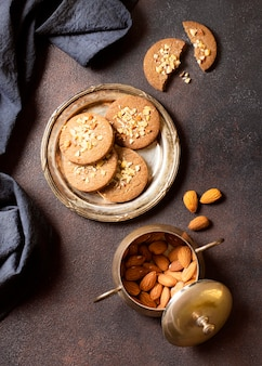 Winter cookies dessert and almonds