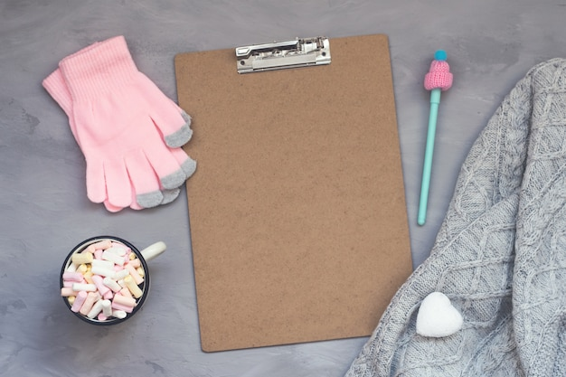 Winter cozy clipping board mockup