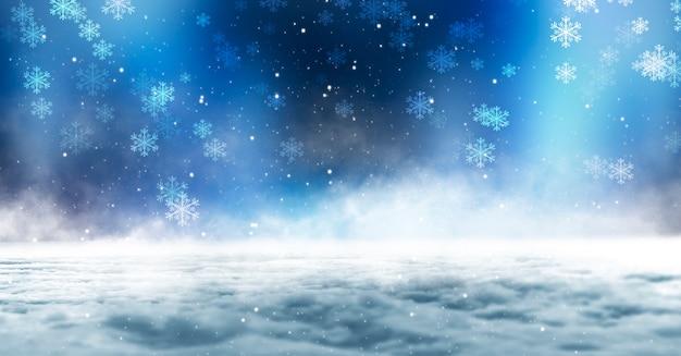 겨울 어두운 숲, 전나무 나무와 눈 덮인 풍경.