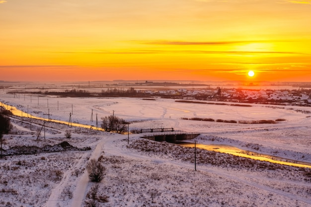 Winter dawn over the river and lake