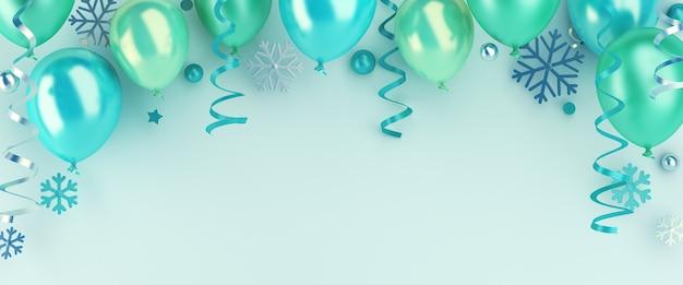 Зимний фон украшения с воздушным шаром и снежинками, копией пространства