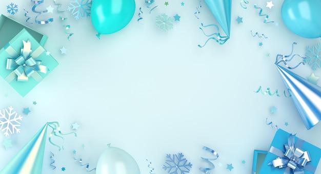 Зимний фон украшения с воздушной подарочной коробкой и снежинками, копией пространства