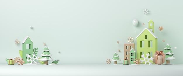 住宅建設の雪片と冬の装飾の背景