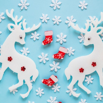 Winter decoration with reindeers