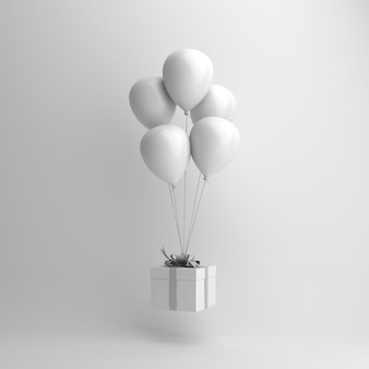 하얀 풍선과 선물 상자가있는 겨울 장식