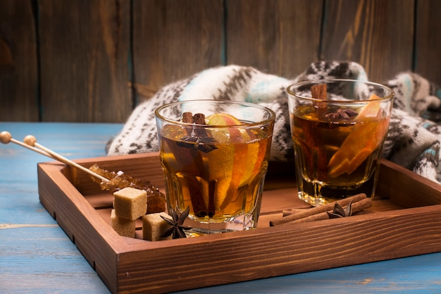 Winter drink. warm mulled apple cider with spices