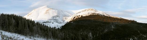 Зимний ранний рассвет горный пейзаж (украина, карпаты, гора петрос)
