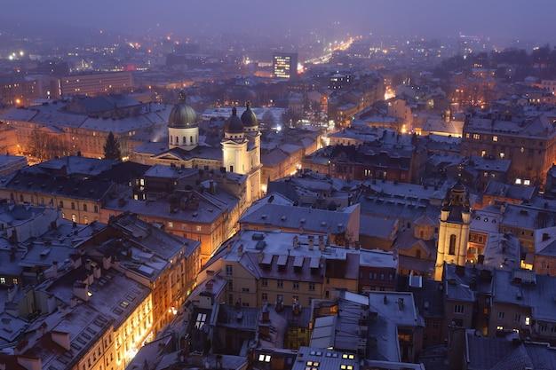 冬のヨーロッパの都市リヴィウのパノラマと建築