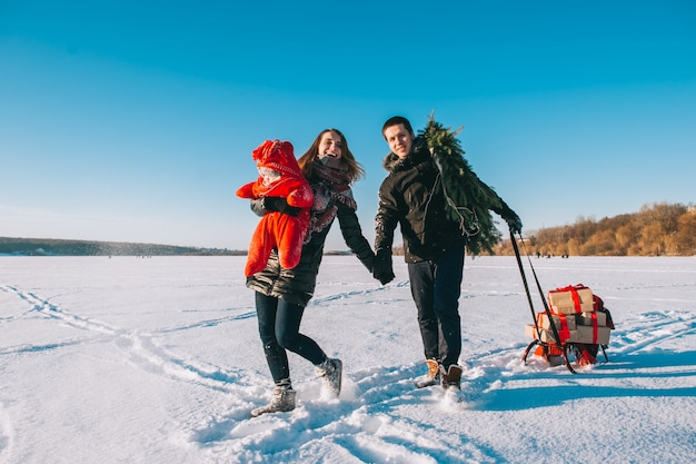 Winter family sled baby