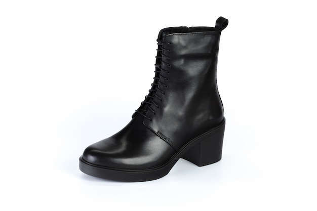 Winter female leather boots isolated