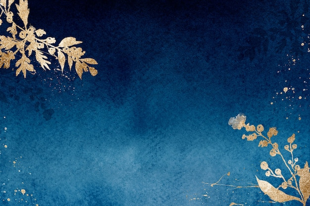 Fondo floreale del bordo di inverno in blu con l'illustrazione dell'acquerello della foglia