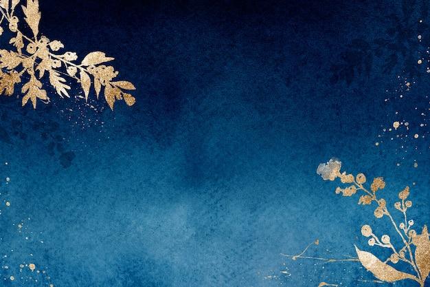 葉の水彩イラストと青の冬の花のボーダーの背景