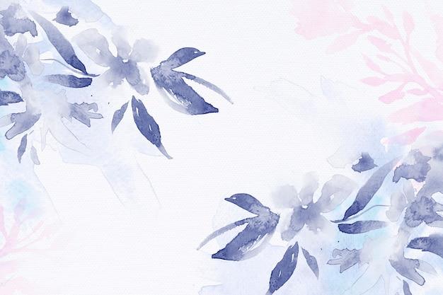 Зимний цветочный акварельный фон в фиолетовом с иллюстрацией листьев
