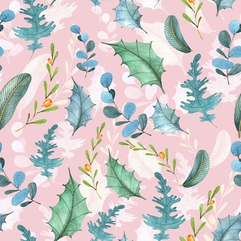 Winter floral watercolour seamless pattern.