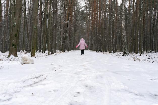 背の高い松のある冬の森。子供は遠くに行く道に沿って歩きます。背面図